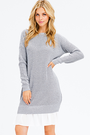 $20 - Cute cheap floral caged dress - heather grey knit long sleeve chiffon ruffle hem boho midi sweater dress