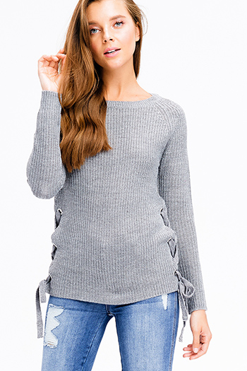 $20 - Cute cheap charcoal gray stripe embroidered long bubble sleeve boho peasant top - heather grey knit long sleeve cut out laceup side boho sweater top