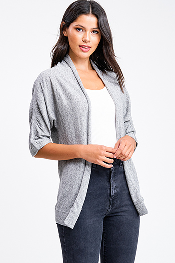 $15 - Cute cheap cardigan - Heather grey linen blend ruched half sleeve draped open front cardigan top