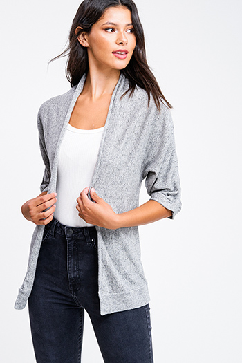 $10 - Cute cheap black long sleeve exposed stitch pocketed open front sweater cardigan - Heather grey linen blend ruched half sleeve draped open front cardigan top