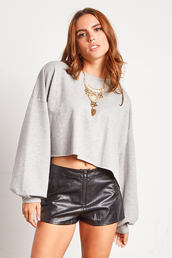 $15 - Cute cheap boho quarter sleeve top - heather grey long bubble sleeve cropped oversized sweatshirt top