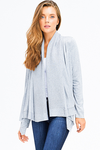 $20 - Cute cheap charcoal gray pinstripe off shoulder ruffle tiered sleeve boho blouse top - heather grey knit long sleeve draped collar open front boho cardigan top