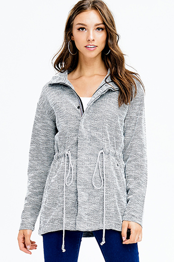 $25 - Cute cheap quarter sleeve jacket - heather grey long sleeve drawstring waist zip up anorak coat jacket