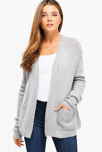 $15 - Cute cheap print fringe cardigan - Heather grey long sleeve exposed stitch pocketed open front sweater cardigan
