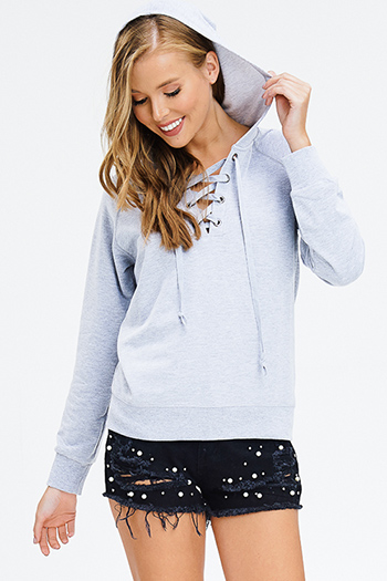 $15 - Cute cheap black embroidered laceup caged back boho peasant tank top - heather grey long sleeve laceup hooded lounge sweatshirt top