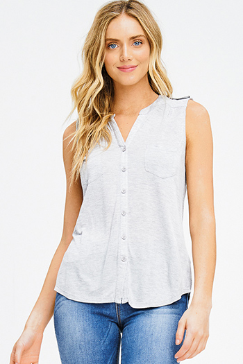 $10 - Cute cheap red navy blue plaid flannel sleeveless button up blouse top - heather grey rayon jersey sleevess button up tee tank top