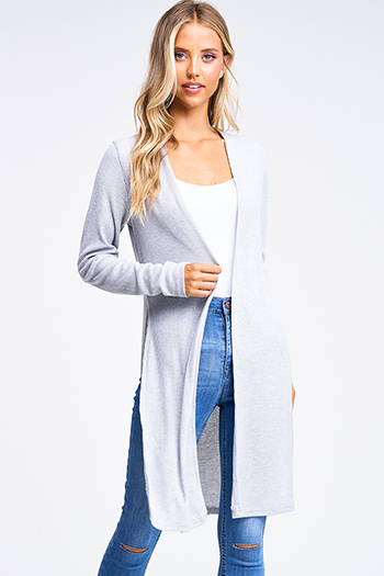 $15 - Cute cheap charcoal gray long sleeve double breasted button up hooded pocketed jacket - Heather grey ribbed knit long sleeve slit sides open front boho duster cardigan