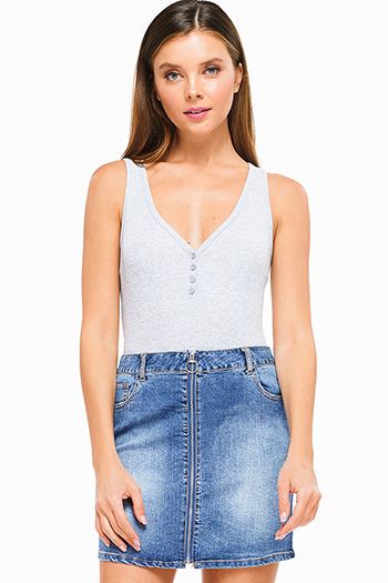 $9.50 - Cute cheap white embroidered sleeveless pocketed button up boho retro mini dress - Heather grey ribbed v neck button up sleeveless bodysuit top