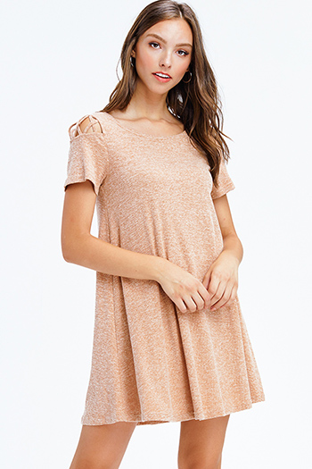 $15 - Cute cheap satin shift dress - heather khaki tan ribbed knit cut out caged short sleeve swing mini dress