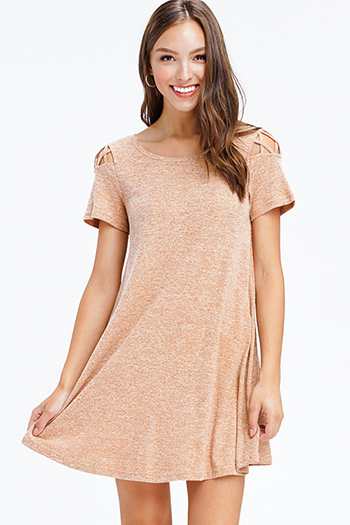 $10 - Cute cheap black sequined fitted dress - heather khaki tan ribbed knit cut out caged short sleeve swing mini dress