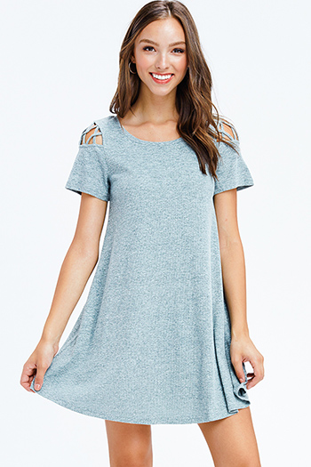 $10 - Cute cheap light blue washed denim distressed pocketed boho overall jean skirt mini dress - heather sage green ribbed knit cut out caged short sleeve swing tee shirt mini dress