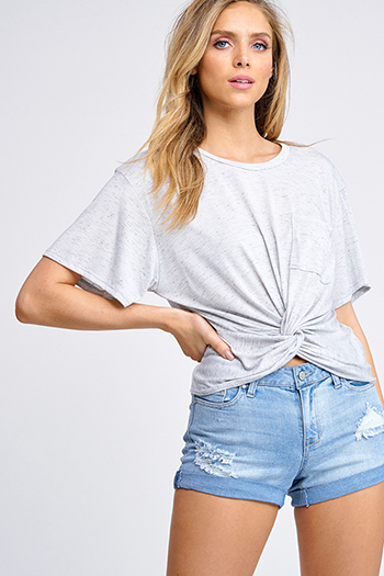$15 - Cute cheap dove gray crochet lace hem short sleeve oversized boho top - Heathered light grey short sleeve pocket front twist knot front boho tee shirt top