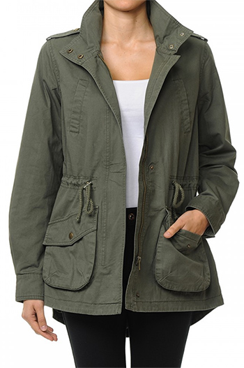 $20.00 - Cute cheap high neck anorak jacket in a washed cotton twill fabrication featuring roll-up
