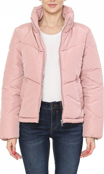 $27.50 - Cute cheap high neck chevron quilted matte puffer jacket