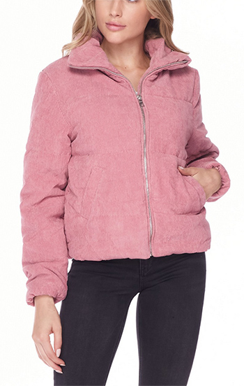 $23.00 - Cute cheap high neck quilted corduroy puffer jacket
