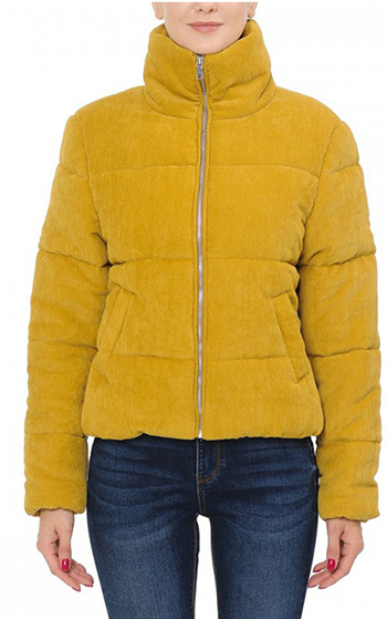 $25 - Cute cheap non stretch shearling collar denim jacket 100cotton - high neck quilted corduroy puffer jacket
