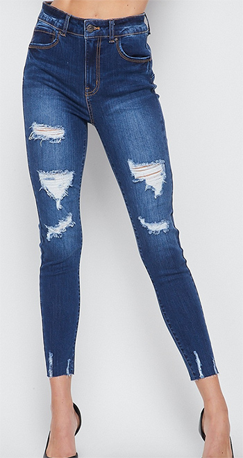 $27.00 - Cute cheap blue washed denim mid rise distressed destroyed chewed hem ankle fit skinny jeans - high rise ankle skinny pants