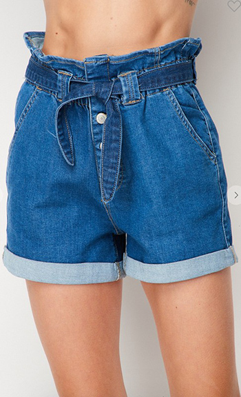 $15.50 - Cute cheap july 4th outfits - High-rise paper bag shorts in stretch denim shorts,