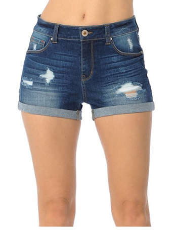 $13.50 - Cute cheap high rise traditional 5-Pocket shorts Destruction, rolled cuffs,