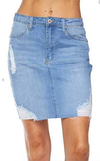 $16.75 - Cute cheap july 4th outfits - high waist denim skirt with raw edge hem