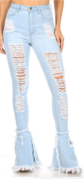 $35.50 - Cute cheap blue washed denim mid rise distressed cut off hem fitted skinny jeans - high waist destriy stretch skinny bell hem pants