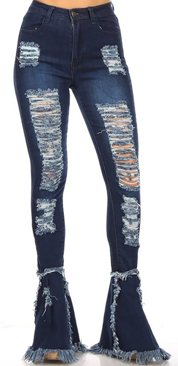 $35.50 - Cute cheap skinny jeans - high waist destroy stretch skinny bell hem pants