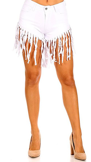 $16 - Cute cheap high waist stretch fringed denim shorts