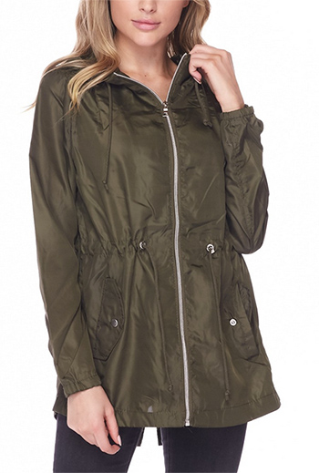 $23.00 - Cute cheap plum wine tencel long sleeve drawstring waisted button up zip up hooded anorak trench coat jacket - hooded anorak windbreker jacket
