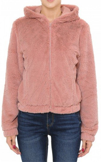 $27.50 - Cute cheap hooded zip-front bomber jacket in a long pile faux fur jacket