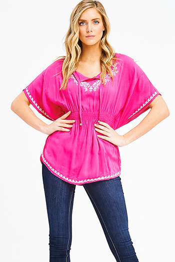 $15 - Cute cheap black faux suede leather trim low v neck sweetheart fitted sexy party tunic top - hot pink embroidered smocked waist butterfly sleeve boho peasant party blouse top