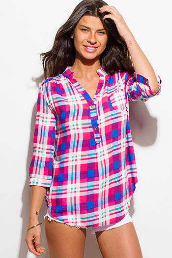 $15 - Cute cheap slit blouson sleeve blouse - hot pink plaid print quarter sleeve button up blouse top