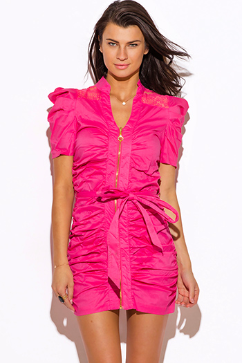 $15 - Cute cheap pink fitted cocktail dress - hot pink zip up bubble sleeve ruched fitted shirt dress