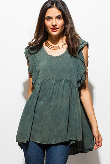 $15 - Cute cheap sheer slit boho top - hunter green acid wash ruffled flutter cap sleeve keyhole back boho tunic top