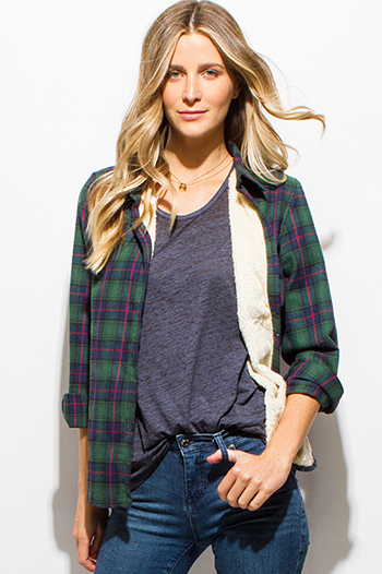 $30 - Cute cheap brown plaid print flannel long sleeve frayed hem button up blouse tunic top - hunter green checker plaid fleece lined long sleeve button up flannel top