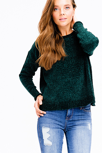 $20 - Cute cheap stripe asymmetrical boho top - hunter green chenille fuzzy knit long dolman sleeve boho cropped sweater top