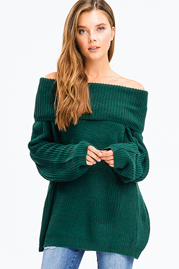 $25 - Cute cheap floral off shoulder top - hunter green chunky knit long bubble sleeve cowl neck off shoulder boho sweater top