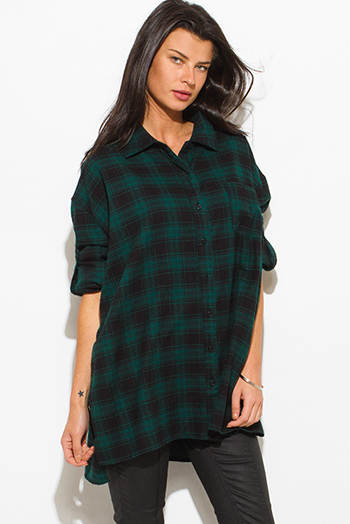 $15 - Cute cheap green coat - hunter green cotton button up long sleeve oversized checker plaid flannel tunic top