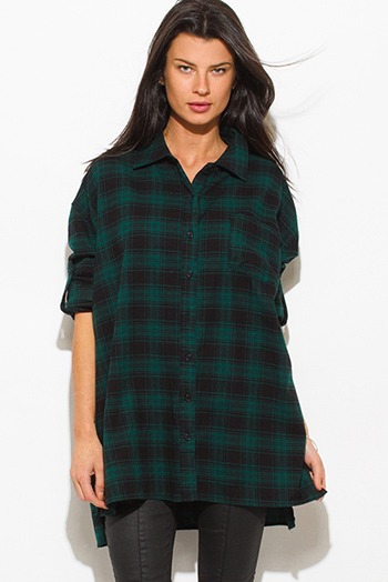 $15 - Cute cheap black pinstripe collarless short cuffed cap sleeve zip up blouse top - hunter green cotton button up long sleeve oversized checker plaid flannel tunic top