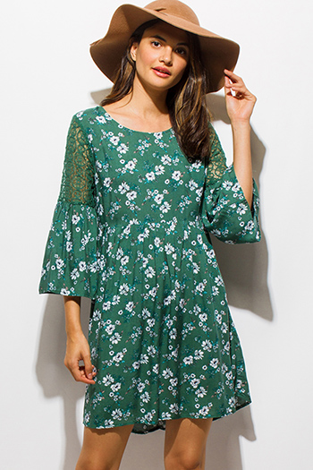 $15 - Cute cheap ruffle evening mini dress - hunter green floral print crochet lace bell sleeve a line boho mini dress