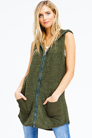 $25 - Cute cheap cotton sweater - hunter green fuzzy sweater knit hooded pocketed zip up long cardigan vest