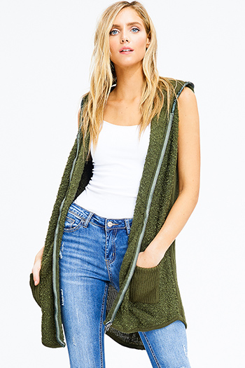 $25 - Cute cheap black diamond print zip up long sleeve peplum blazer jacket top - hunter green fuzzy sweater knit hooded pocketed zip up long cardigan vest