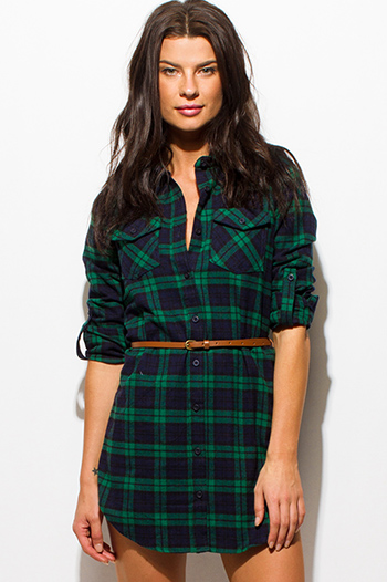$15 - Cute cheap open back sexy party mini dress - hunter green plaid flannel button up long sleeve belted tunic mini shirt dress