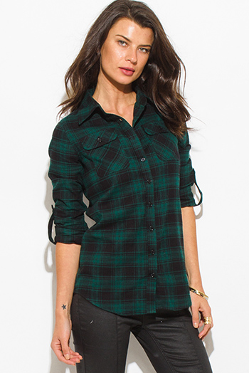 $15 - Cute cheap navy blue plaid cotton gauze quarter sleeve button up blouse top - hunter green plaid flannel long sleeve button up blouse top