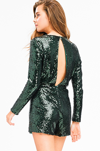 $15 - Cute cheap taupe brown laser cut distressed long sleeve elbow cut out hooded sweatshirt crop top - Hunter green sequined metallic long sleeve faux wrap cut out back sexy club party romper playsuit jumpsuit