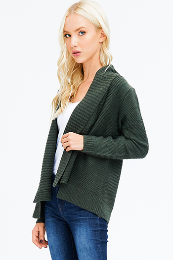 $15 - Cute cheap dark olive green satin long sleeve faux wrap belted pocketed harem jumpsuit - hunter green sweater knit long sleeve open front boho shawl cardigan jacket