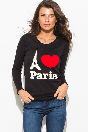 $15 - Cute cheap cotton off shoulder top - i love paris black cotton blend graphic contrast long sleeve ribbed sweater knit top