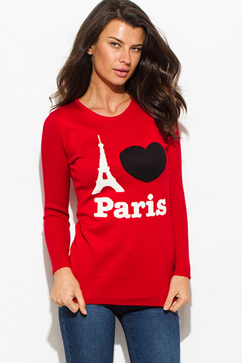$15 - Cute cheap brown animal zebra print long dolman sleeve boat neck knit top - i love paris red cotton blend graphic contrast long sleeve ribbed sweater knit top