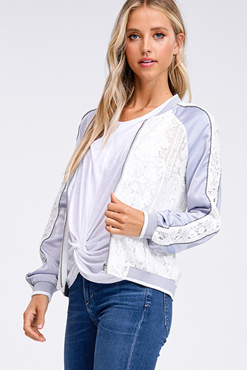 $20 - Cute cheap long sleeve sexy club top - Ice blue satin white lace contrast long sleeve zip up boho bomber jacket