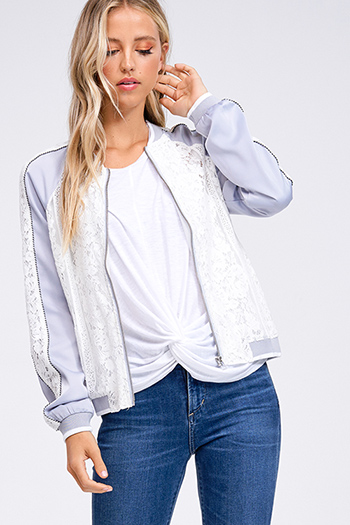 $20 - Cute cheap light blue stripe off shoulder tie sleeve crochet lace hem boho romper playsuit jumpsuit - Ice blue satin white lace contrast long sleeve zip up boho bomber jacket