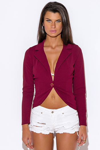 $11 - Cute cheap wine red textured fabric deep v neck tiered ruffle high low hem blouse jacket top - textured deep burgundy wine red single button fitted blazer jacket top